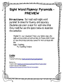 Sight Word Fluency Pyramids PREVIEW