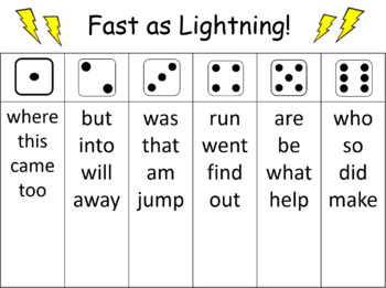Sight Word Fluency Roll