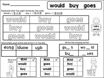 Sight Word Fluency 2nd Grade