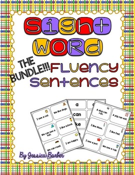 Sight Word Fluency Sentence Cards- Pre-primer THE BUNDLE