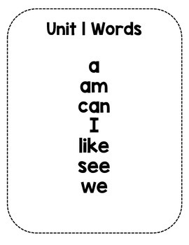 Sight Word Fluency Sentence Cards- Pre-primer Unit 1