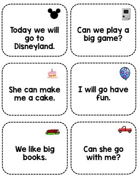 Sight Word Fluency Sentence Cards- Pre-primer Unit 2