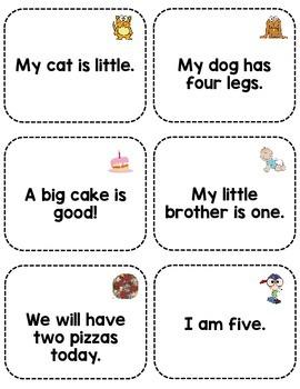 Sight Word Fluency Sentence Cards- Pre-primer Unit 3