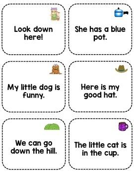 Sight Word Fluency Sentence Cards- Pre-primer Unit 4