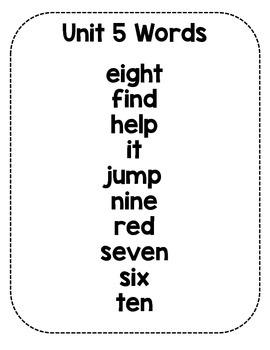 Sight Word Fluency Sentence Cards- Pre-primer Unit 5