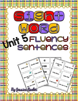 Sight Word Fluency Sentence Cards- Pre-primer Unit 5