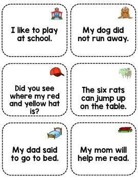 Sight Word Fluency Sentence Cards- Pre-primer Unit 6