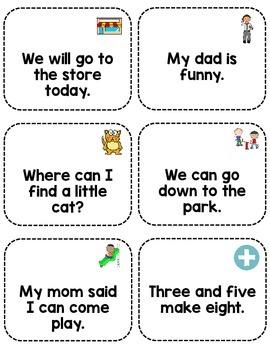 Sight Word Fluency Sentence Cards- Pre-primer Unit Summary