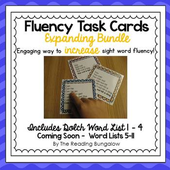 Sight Word Fluency Sentence Task Cards {Expanding Bundle}