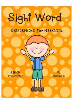 Sight Word Fluency Sentences DOLCH Pre-Primer