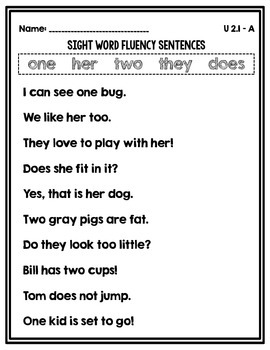Sight Word Fluency Sentences Unit 2
