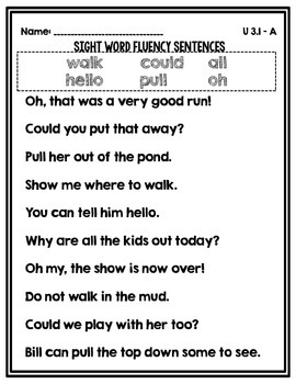 Sight Word Fluency Sentences Unit 3