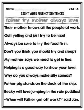 Sight Word Fluency Sentences Unit 5