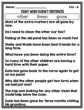 Sight Word Fluency Sentences Unit 6