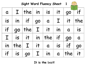 Sight Word Fluency Sheets