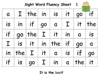 Sight Word Fluency Sheets