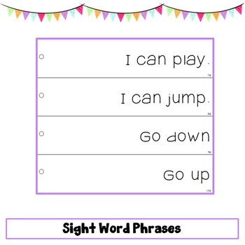 Sight Word Phrase Fluency Strips