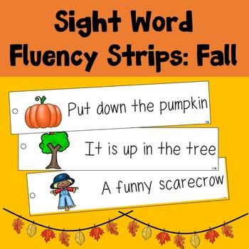 Sight Word Fluency Strips: Fall