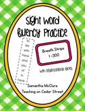 Sight Word Fluency Intervention Strips- Fry Words 1 - 300