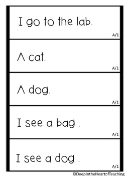 Sight Word Fluency Strips Level A-1