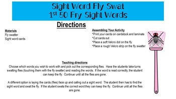 Sight Word Fly Swat