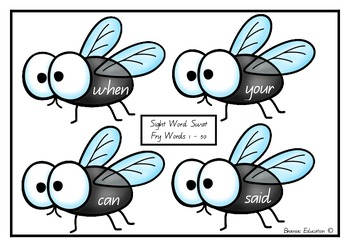 Sight Word Fly Swat - Fry List First 50 Words