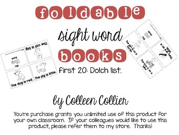 Sight Word Foldable (Dolch first 20)