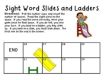 Sight Word Folder Game:  Sight Word Slides and Ladders
