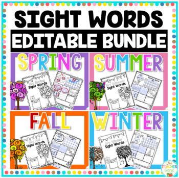 Sight Word Four Seasons Editable Bundle