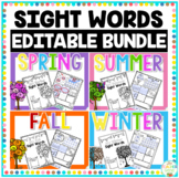 #ausbts18 Editable Sight Word Activities Bundle (Seasons)