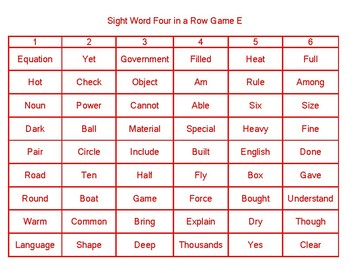 Sight Word Four in a Row Game E