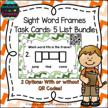Sight Word Frames Task Cards: 5 List Bundle
