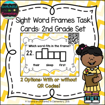 Sight Word Frames Task Cards: Second Grade Set