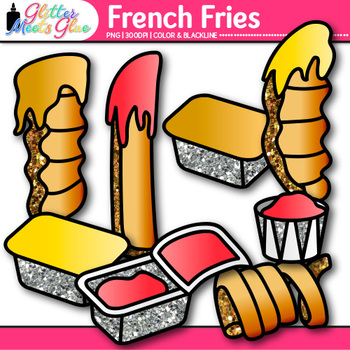 French Fries Clip Art {Food & Nutrition Graphics, Great for Sight Word Use}