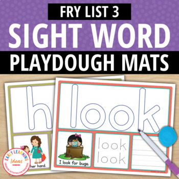 Sight Word Fry List 3 Play Dough Activity Mats:Build, Read, Trace, & Write