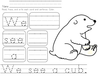 Sight Word Fun For Kindergarten and First Grade Arctic