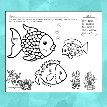 Sight Word Fun for Kindergarten and First Grade Ocean Theme