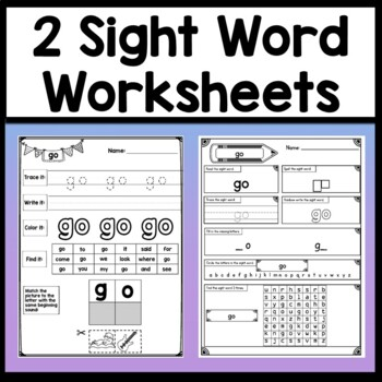 Sight Word GO {2 Sight Word Books and 4 Worksheets!}