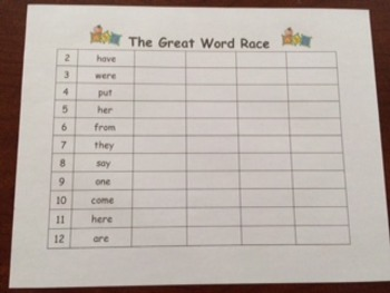 Sight Word and Math Game: Great Word Race