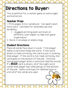 Sight Word Game: BUZZ!