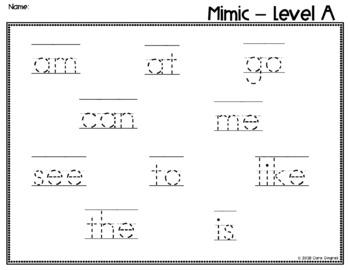 Sight Word Game - Jan Richardson Level A Sight Words