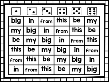 Sight Word Game: 4-in-a-row