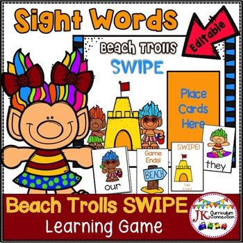 Sight Word Game – Beach Trolls SWIPE Game {EDITABLE}