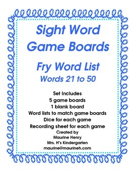 Sight Word Game Boards, Fry Word List, Words 21 to 50