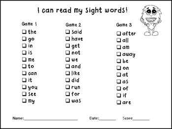 Sight Word Game Boards Set 1