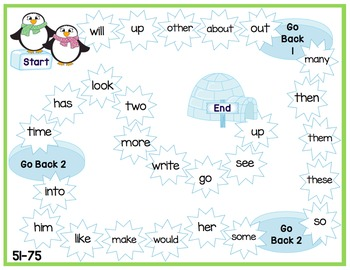 Sight Word Game Boards - Winter Themed - Fry Sight Words