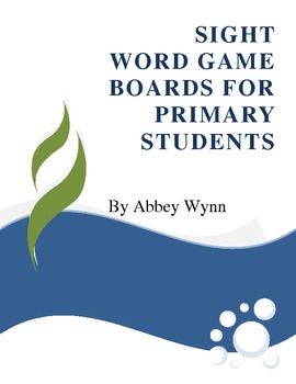 Sight Word Game Boards and Word Cards