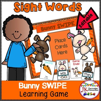 Sight Word Game -Bunny SWIPE {EDITABLE}