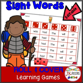 Sight Word Game - Camping Friends Roll & Cover {EDITABLE}