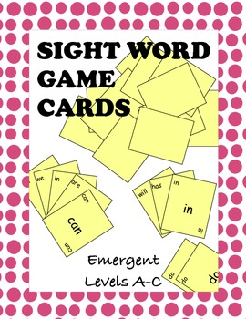 Sight Word Game Cards Emergent Level A through C